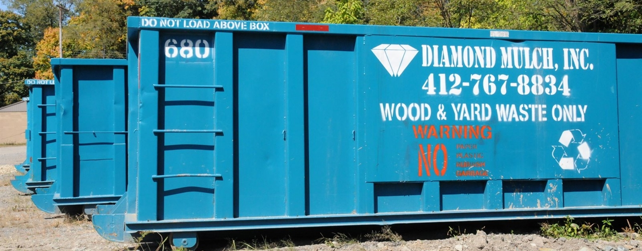 Diamond Mulch wood-waste hauling dumpster in Indianola, PA