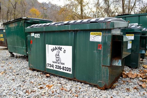Shank Waste Service dumpster.