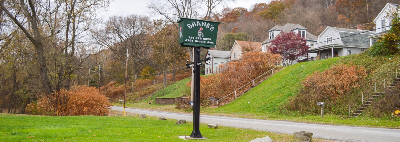 Shank Waste Service sign in Lower Burrell, PA.
