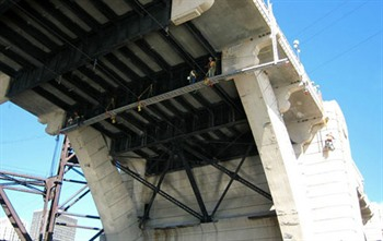 Rigging equipment used for underbridge repair