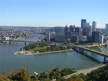 Downtown Pittsburgh with bridge