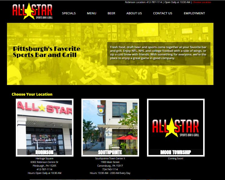 All Star Sports Bar & Grill Website Launch - What's the secret ingredient for a great restaurant? A great website.  Al...