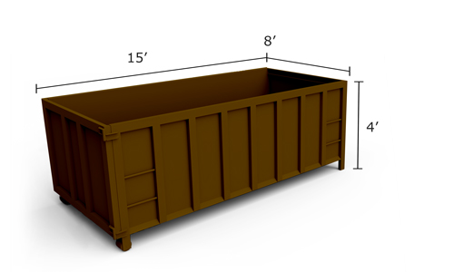 15-yard roll-off dumpster measuring 15 feet wide and 4 feet tall.