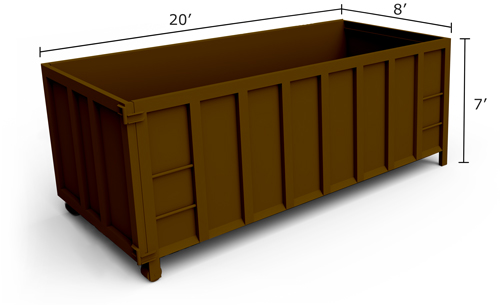 40-yard roll-off dumpster measuring 20 feet wide and 7 feet tall.
