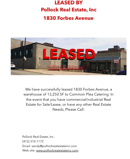Leased 13800 SF to Common Plea Catering
