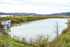EPA-compliant sedimentation pond at Seneca Landfill.