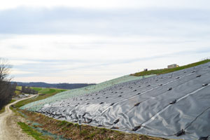 Geomembrane caps at Seneca Landfill.