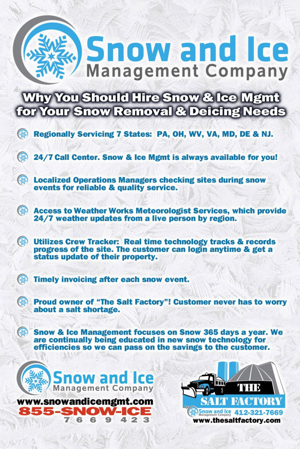 Snow and Ice Management contracts many snow plows, salt trucks, snow shovelers and more in PA, OH, DE, MD, NJ, WV an VA for your business
