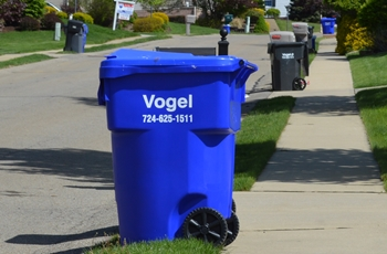 vogel disposal recycling bin on street in seven fields neighborhood