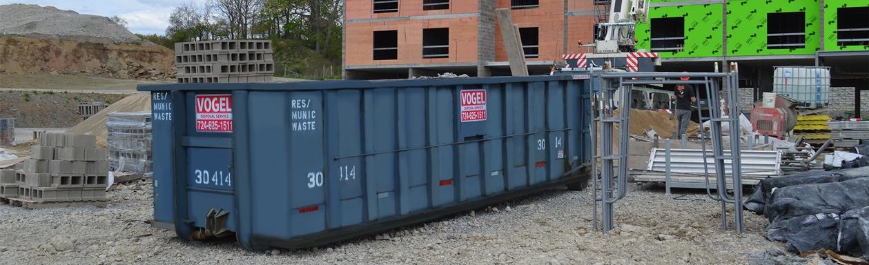 vogel disposal service 30 yard dumpster at construction site