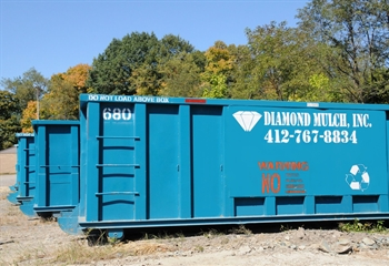 Landscaping Waste Hauling Dumpster Container | Diamond Mulch, Indianola Allegheny County PA