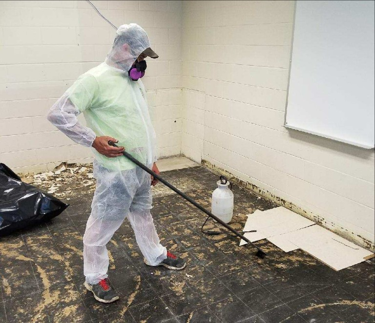 environmental worker removing mold