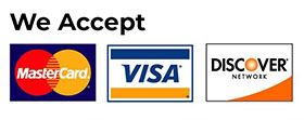 logos of MasterCard, Visa, and Discovery credit cards
