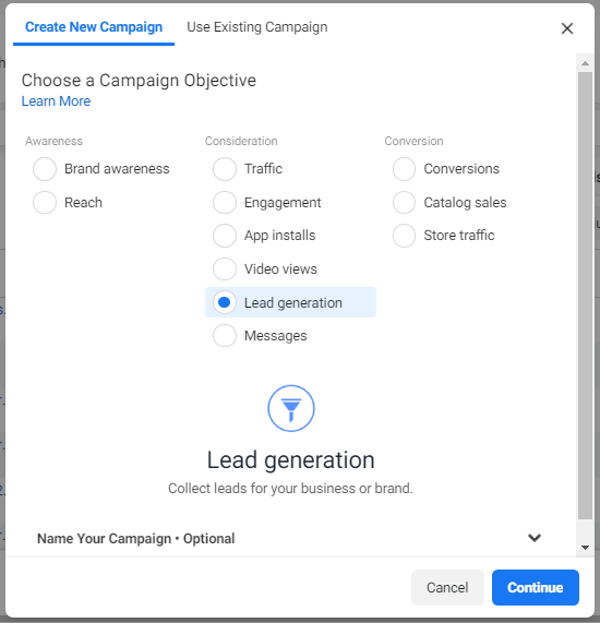 lead generation campaign facebook ads