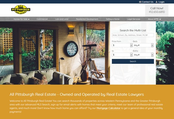 All Pittsburgh Real Estate website design