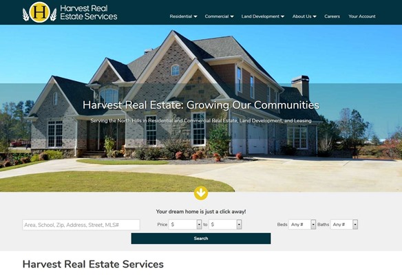 Harvest Real Estate website design
