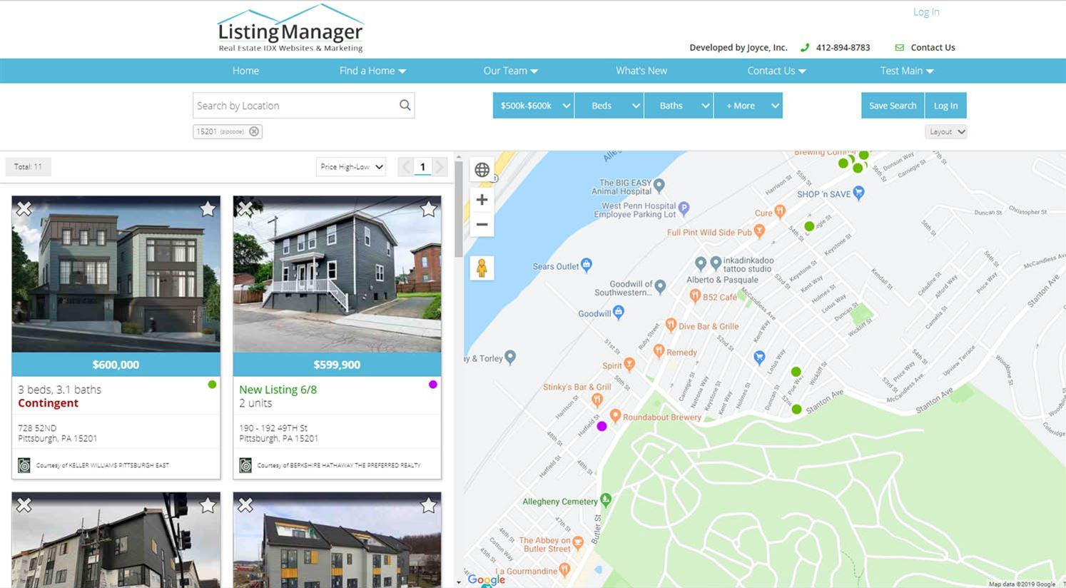 Listing Manager search page