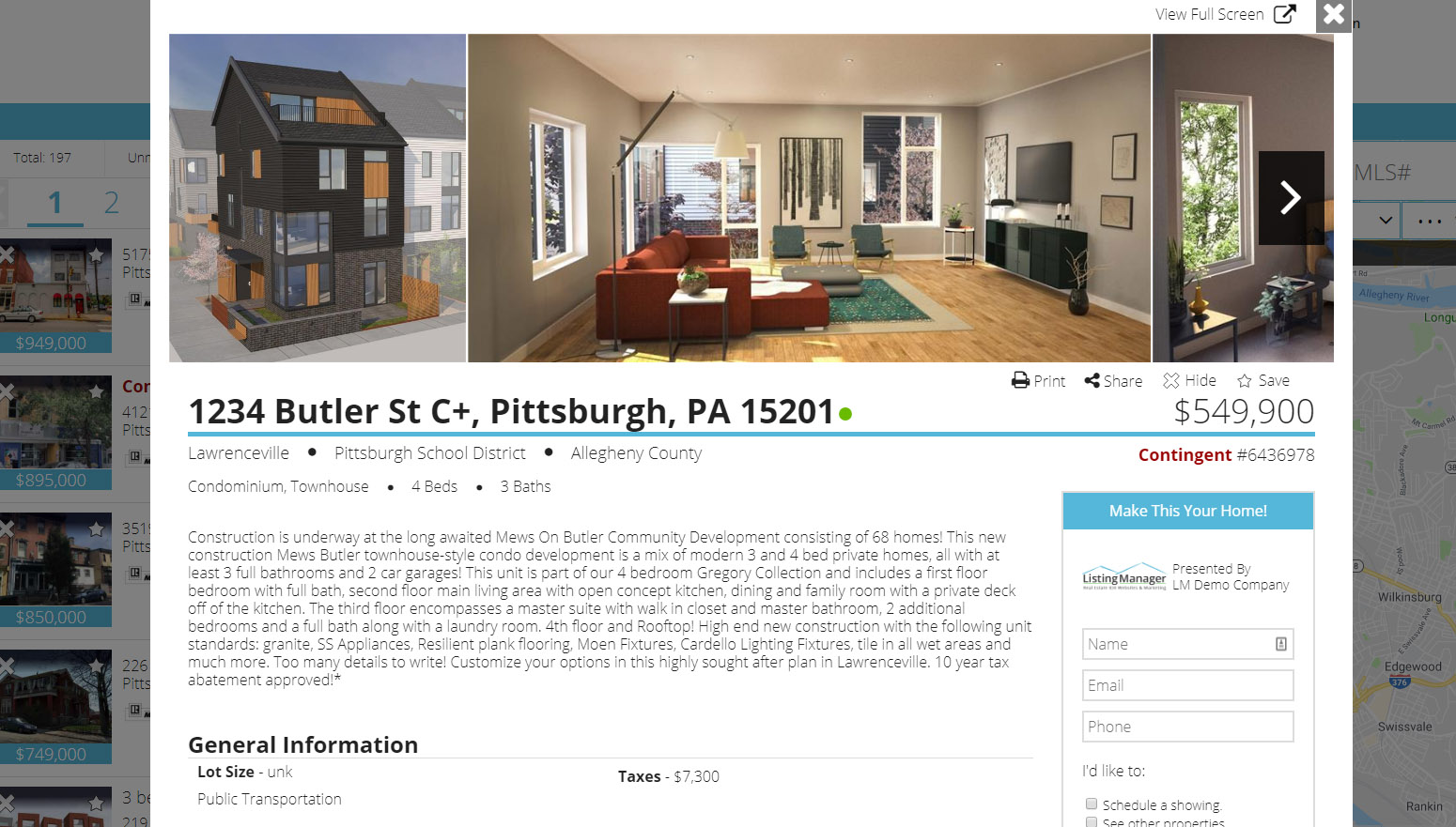 Listing Manager property details page