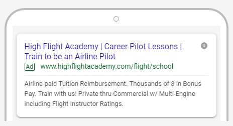 High Flight Academy Google ad