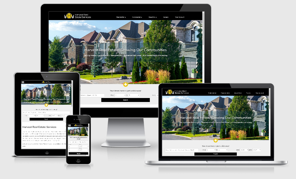 Screen shots of Harvest Real Estate website across devices