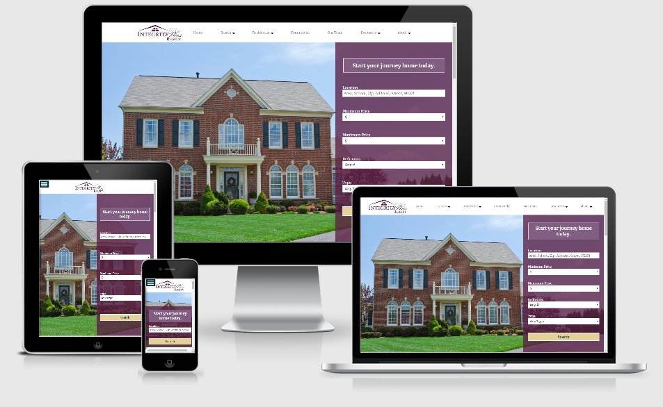 Screen shots of Integrity Plus Realty website across devices