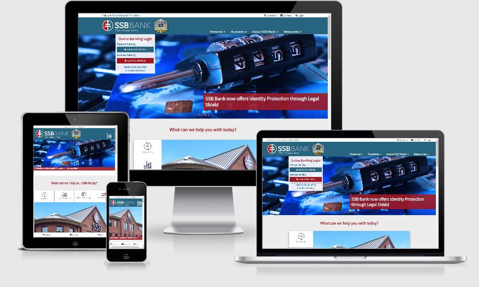 Screen shots of SSB Bank website across devices