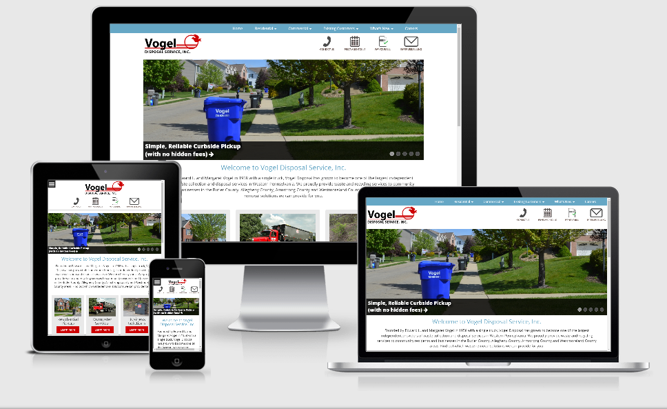 Screen shots of Vogel Holding website across devices