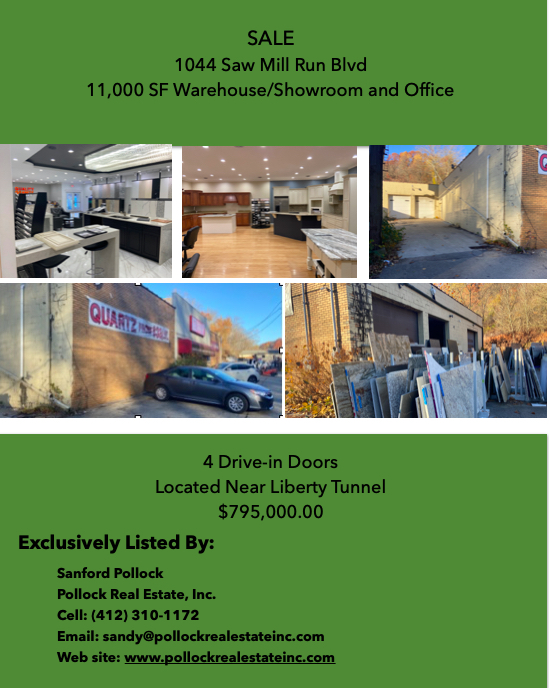 Sale Saw Mill Run (Rt 51) Near Liberty Tunnel - For Sale #warehousespace  and #Showroom 11,000 SF with 4 Drive-in Garage d...