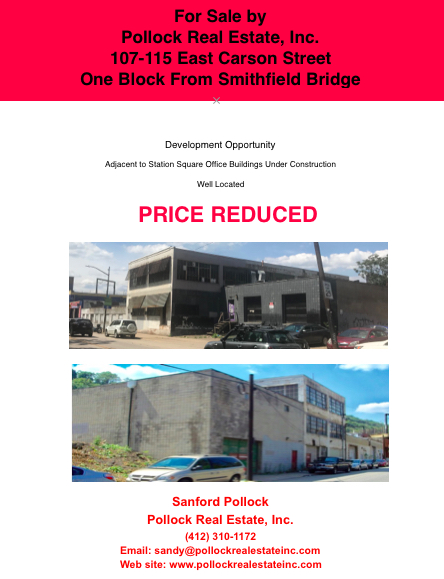 107-115 E Carson Street near Smithfield Bridge - Sale 107-115 East Carson Street #southside #smithfieldbridge 16000 SF Lan...