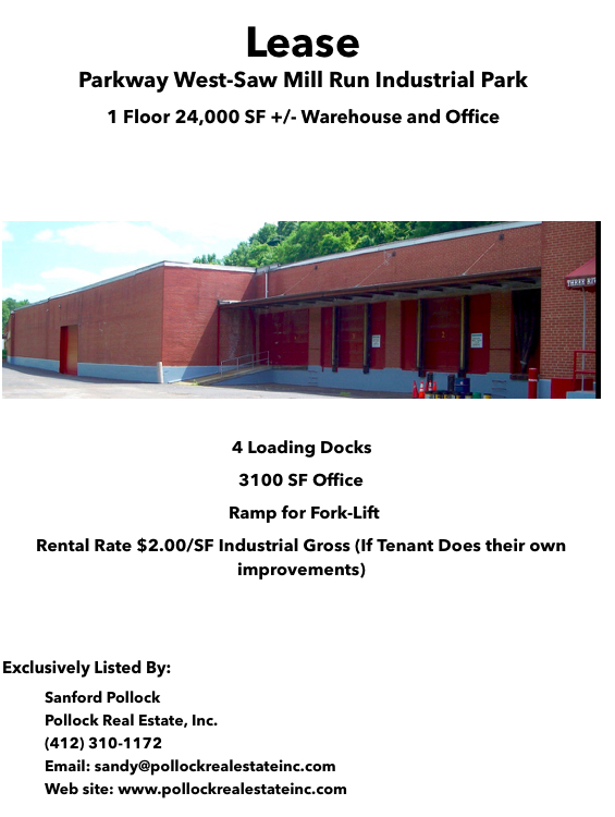24000 SF Warehouse Lease - Lease 24000 SF Warehouse with 4 Loading Docks 18' Ceiling Ht  Very favorable rent #parkwayw...