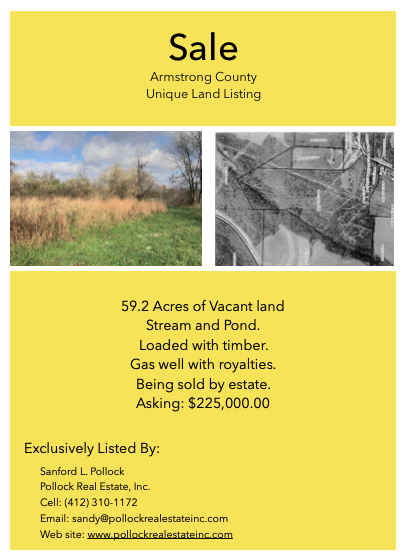 59.2 Acres Armstrong County  - For sale 59.2 Acres in #ArmstrongCounty. #timber #pond #stream Priced to sell at $225,000. ...