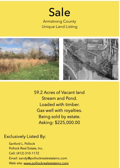 59 wooded acres with stream and pond for sale  - 59+ Acres #land Available for Sale in #Armstrong County Near #Route28 #ti...