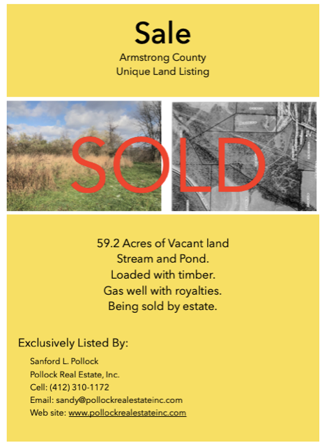 Armstrong County Unique Land Listing - 59.2 Acres of vacant land, stream, and pond. Loaded with timber, gas well with roya...