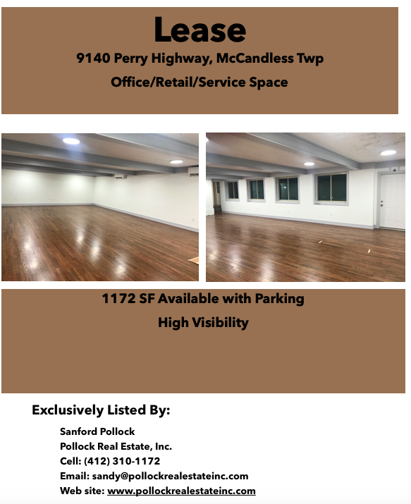 Lease 1172 SF North Hills - Beautiful Space for Lease on Perry Highway, McCandless Township. 1172 SF open floor plan. Idea...