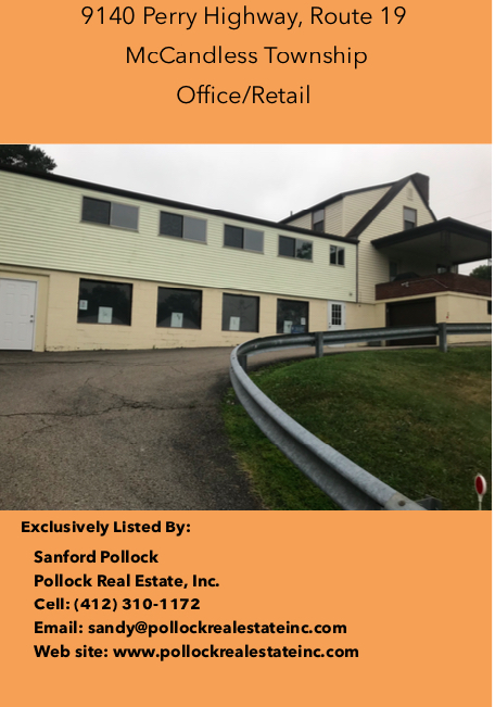 9140 Perry Highway (Route 19) McCandless Twp - Building of 4200+ SF. Two floors of 1174 SF each vacant. Former Dance Schoo...