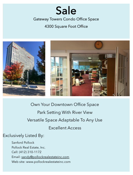 Downtown Pittsburgh Office Condo Gateway Towers - Sale #Office #Condo #Downtown #Pittsburgh #GatewayTowers. 4300 SF $295,0...