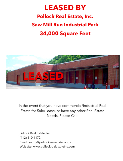 Leased 34000 SF Warehouse - Leased as a Block of 10000 SF and 24000 SF. Pollock Real Estate represented the Landlord and b...