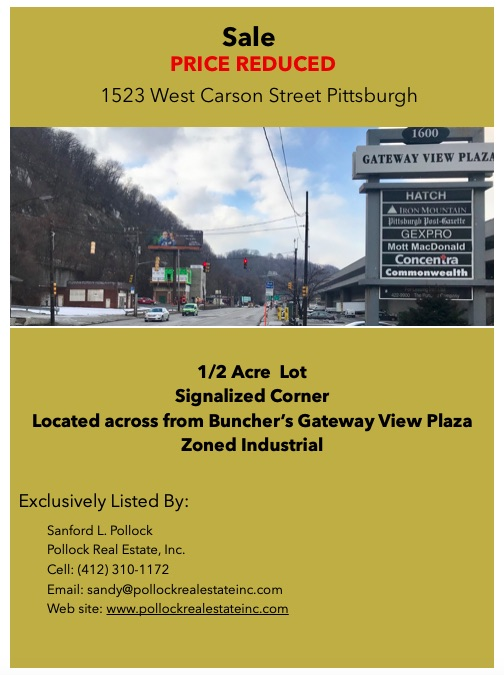 West Carson lot at signalized intersection - Sale Lot on West Carson St across from Gateway View Plaza at signalized inter...