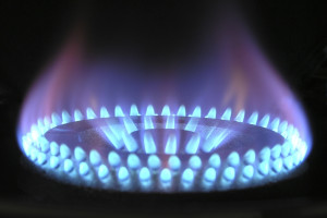 Natural gas burner ignited.