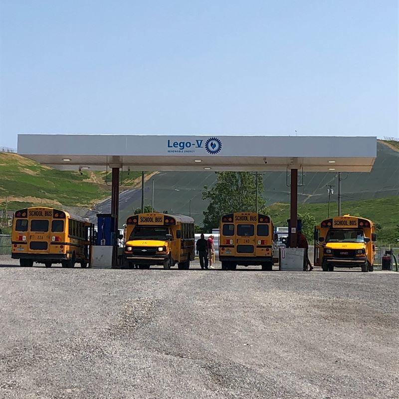 school buses refueling at lego-v cng station