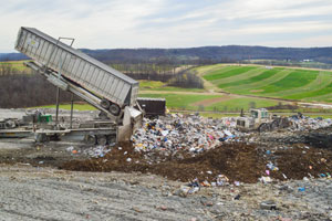 Trash being deposited at Seneca Landfill.