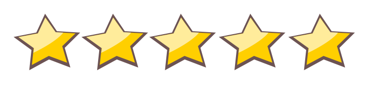 five yellow star icons