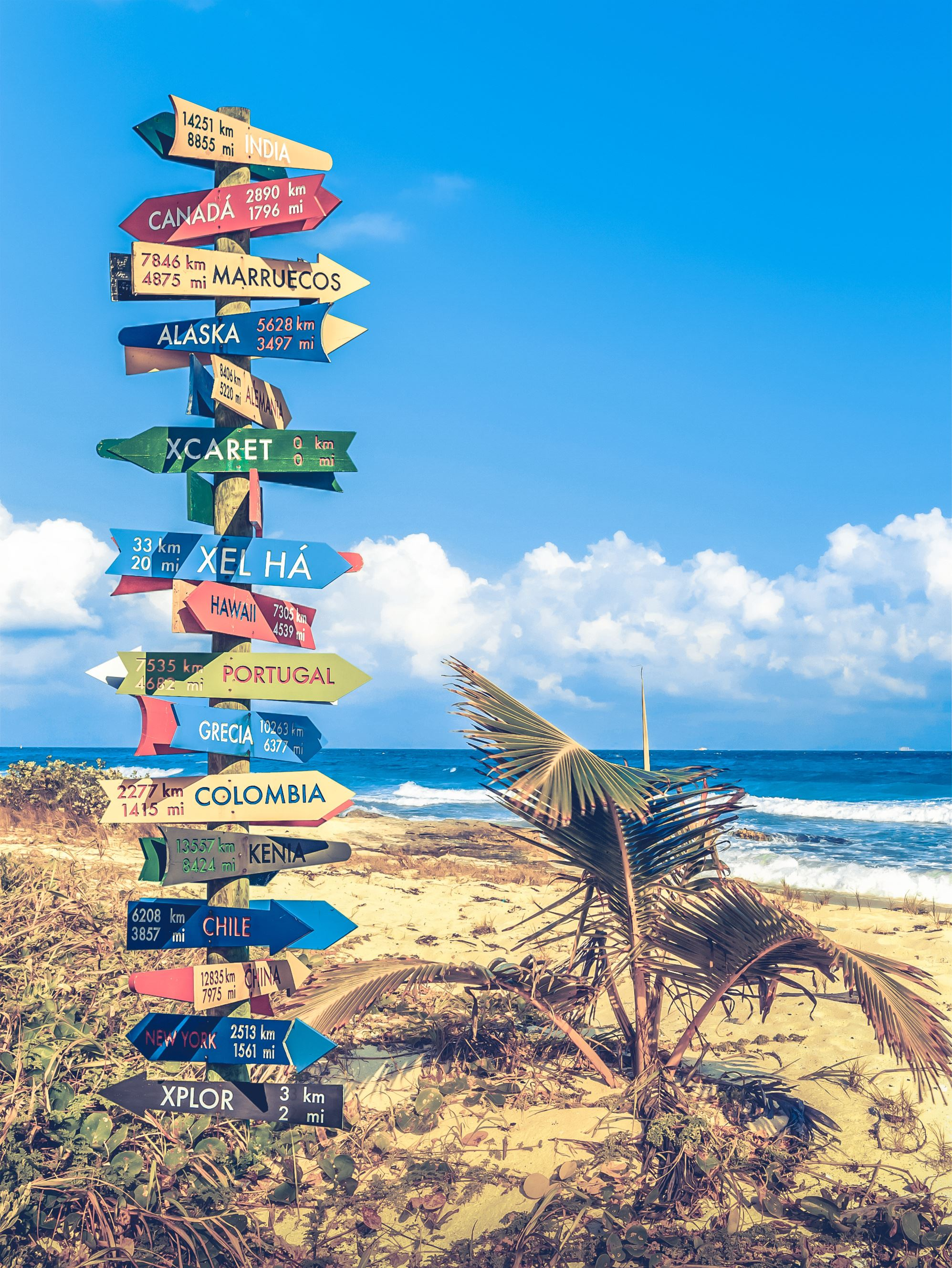 direction pole with signs for countries and cities on a beach