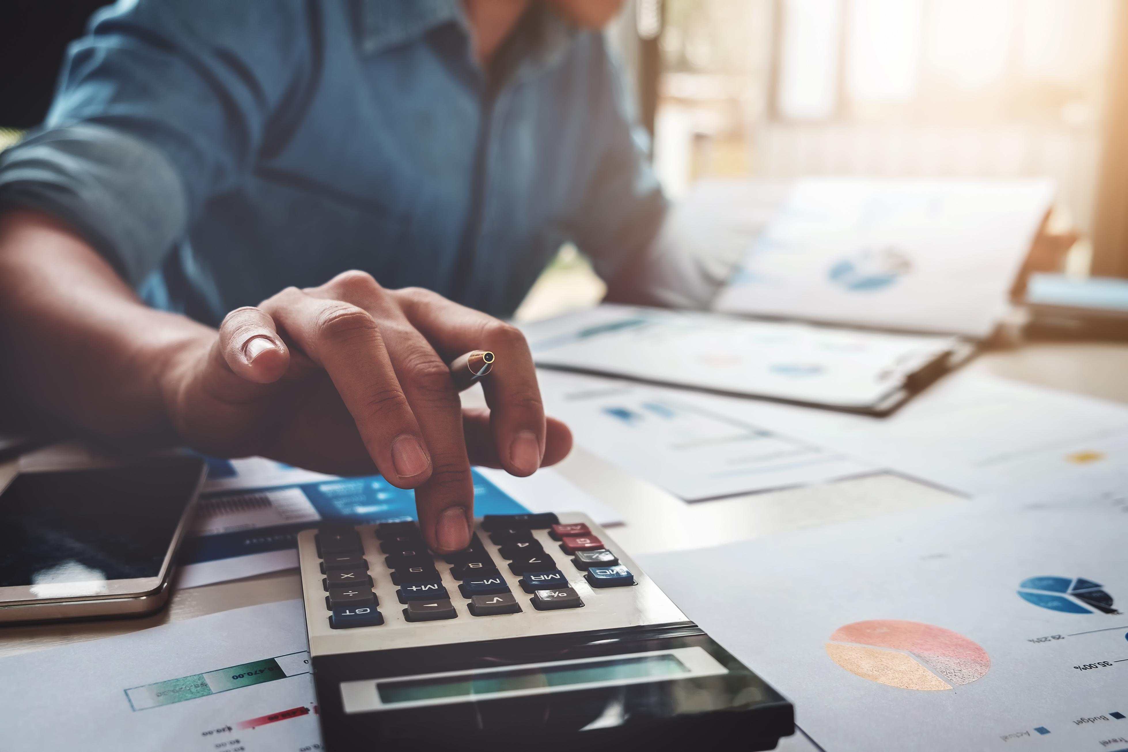 mortgage calculator on desk