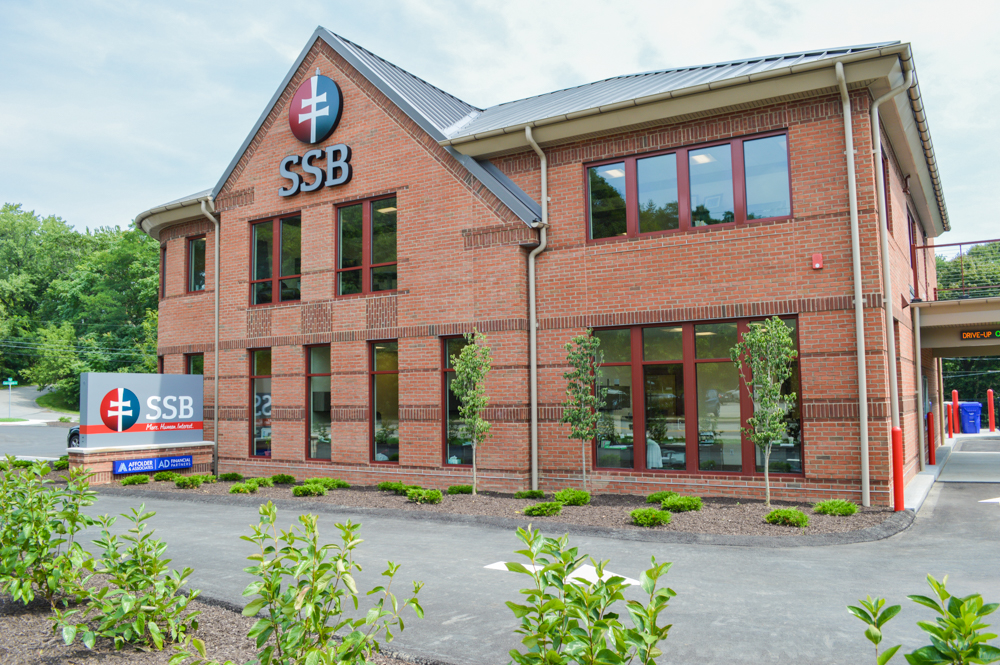 exterior of ssb bank branch in the north hills on perry highway mccandless