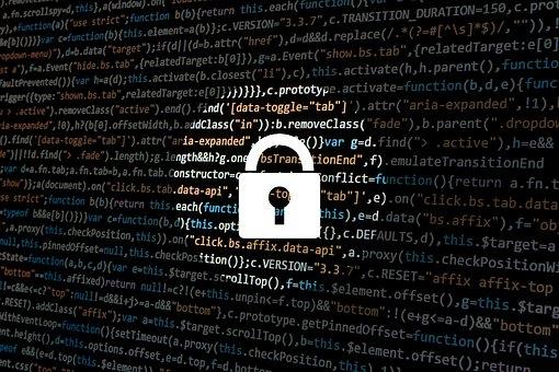 padlock icon over digital html code