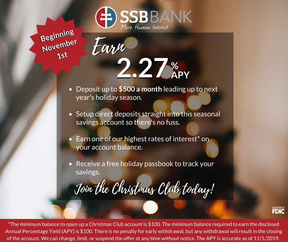 earn 2.27% apy on Christmas club account at ssb | deposit up to $500 a month | set up direct deposits | high interest rate | free holiday passbook