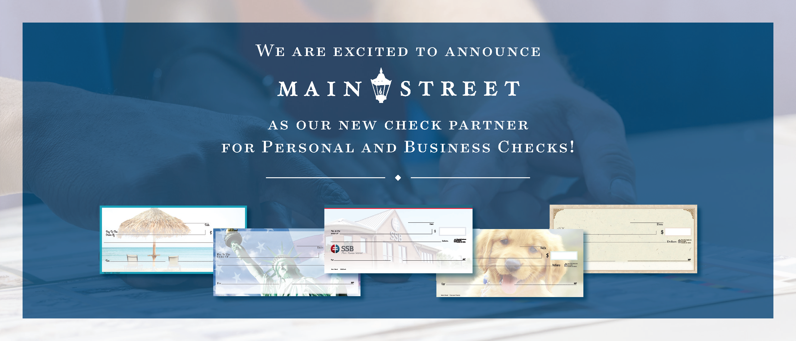 SSB's new personal and business checks