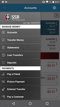 SSB Bank Mobile App Menu | PGH Bank