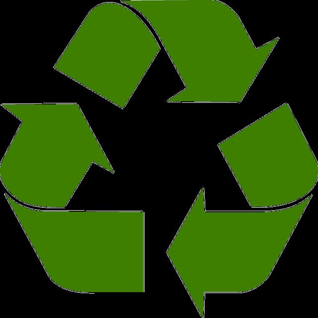Green recycling symbol.